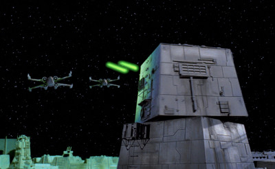X-wings above the surface of the Death Star