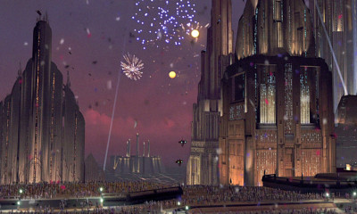Coruscant celebration from Return of the Jedi