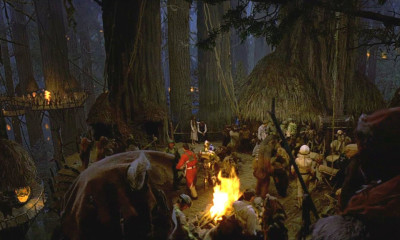 The Ewok celebration on Endor after the destruction of the Death Star