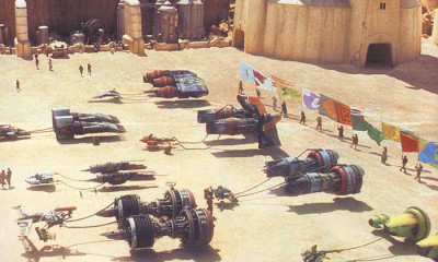 Podracers at the Boonta Eve in The Phantom Menace