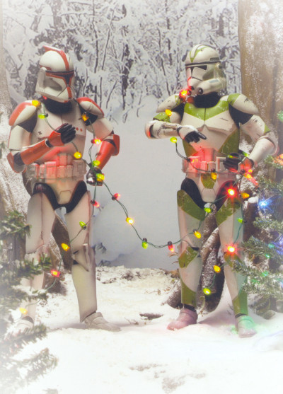 Sideshow's holiday card featuring clones from Star Wars