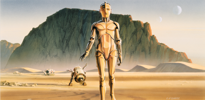Ralph McQuarrie concept painting of C-3PO and R2-D2