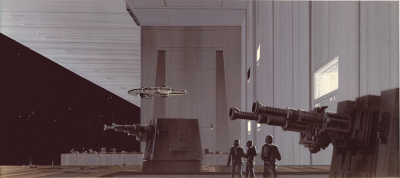 Death Star and Millennium Falcon concept art by Ralph McQuarrie