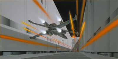 Death Star trench run concept art by Ralph McQuarrie
