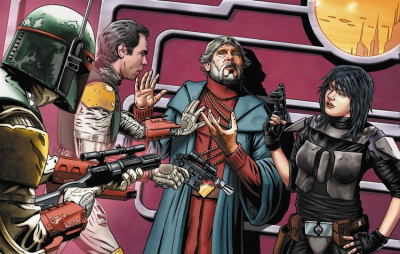 Thrackan Sal-Solo begs Han Solo, Boba Fett, and Mirta Gev for his life (art by Joe Corroney)