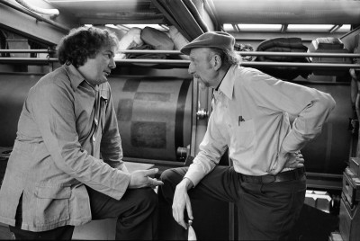 David Tomblin with Irvin Kershner during the filming of The Empire Strikes Back