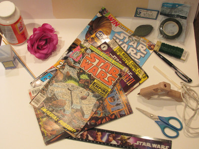 Star Wars comics and supplies for a paper rose