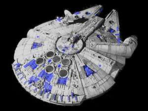 World War II model kits dot the surface of the Millennium Falcon