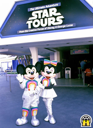 Mickey and Minnie at Star Tours