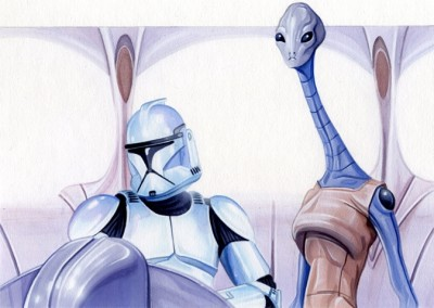 Kaminoan and a clone trooper