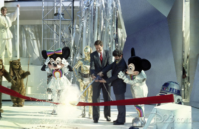 Star Tours grand opening at Disneyland with George Lucas