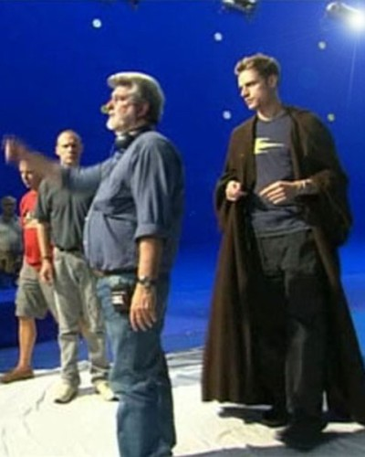 Christian J. Simpson on the set of Star Wars: Episode III Revenge of the Sith with George Lucas