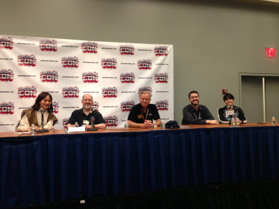 Star Wars panel, left to right, LaVorgna, Zahn, Morton, Rod Hannah and Leanne Hannah