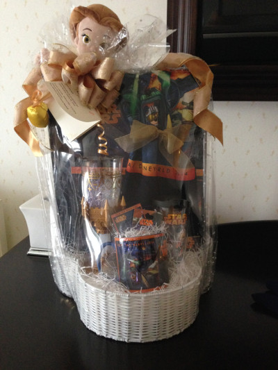 Upon arrival, I received a glorious gift basket full of Star Wars goodies...