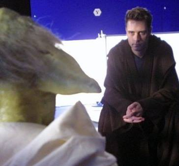 Christian J. Simpson with Yoda on the set of Star Wars: Episode III Revenge of the Sith