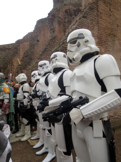 The Imperial Empire meets the Roman Empire: stormtroopers in the Coliseum in Rome.