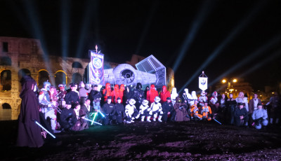 We ushered in May the 4th with spectacular displays the night before, including projecting on the Coliseum wall and posing the costumers en masse in front.