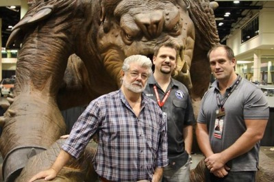 George Lucas with Roxy the Rancor