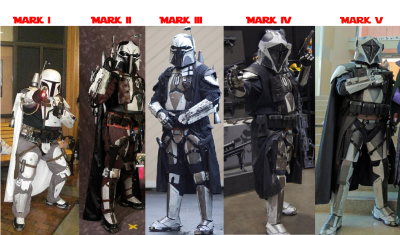 The evolution of my Mandalorian armor, from the first kit in 2007 (far left) to the latest version in 2014 (far right)