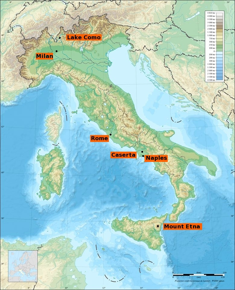 Map of Italy showing the locations and important cities.