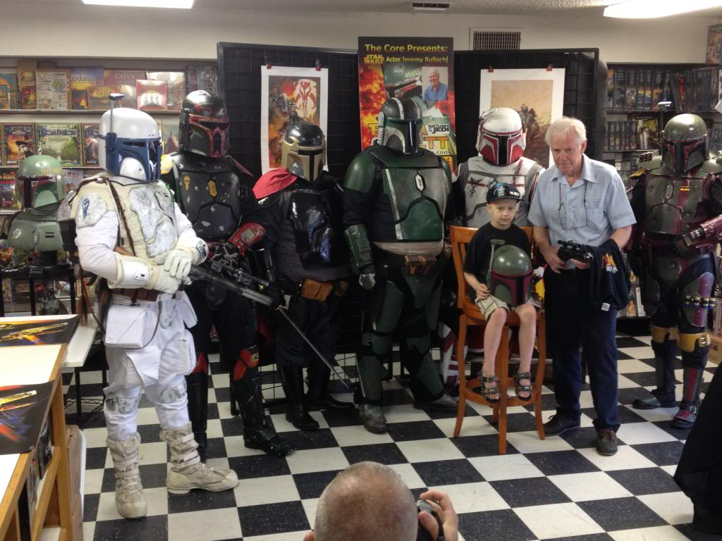 "Jacob Flesher, an 8yr old with terminal cancer was ""adopted"" by Mandalorian Mercs in 2013. A huge Boba Fett fan, Jacob spent time with Star Wars actor Jeremy Bulloch and was given his very own Mandalorian helmet. After his passing in August 2013, LWI would go on to raise funds that helped the family pay for Jacob's final expenses."