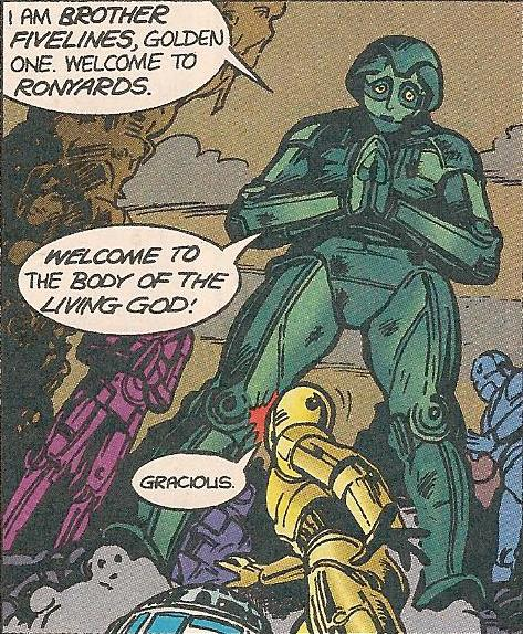 The robo-priest Brother Fivelines welcomes Threepio and Artoo to Ronyards.