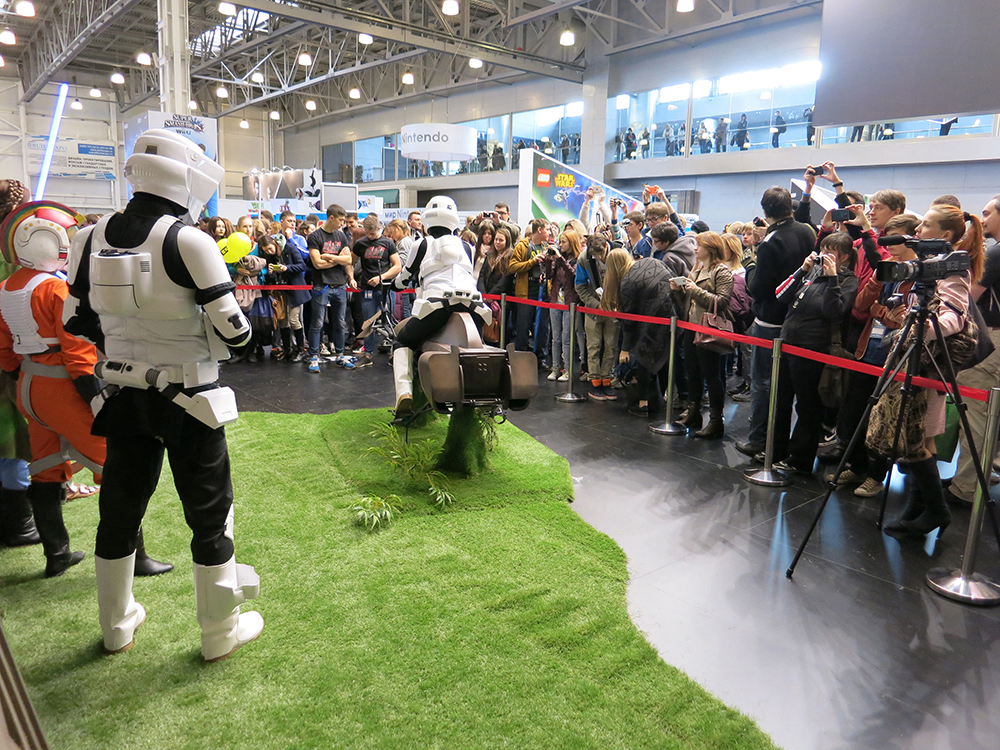 Once open each day, our pavilion was a magnet for pop culture and Star Wars fans. Many thanks to the costumers who worked with us on our presence at Comic Con Russia. They were great collaborators, plus they made our pavilion seem like the galaxy far, far away for the crowds that gathered to see them.