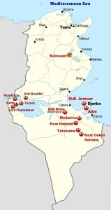 Map of Tunisia showing the shooting location and other important destinations.
