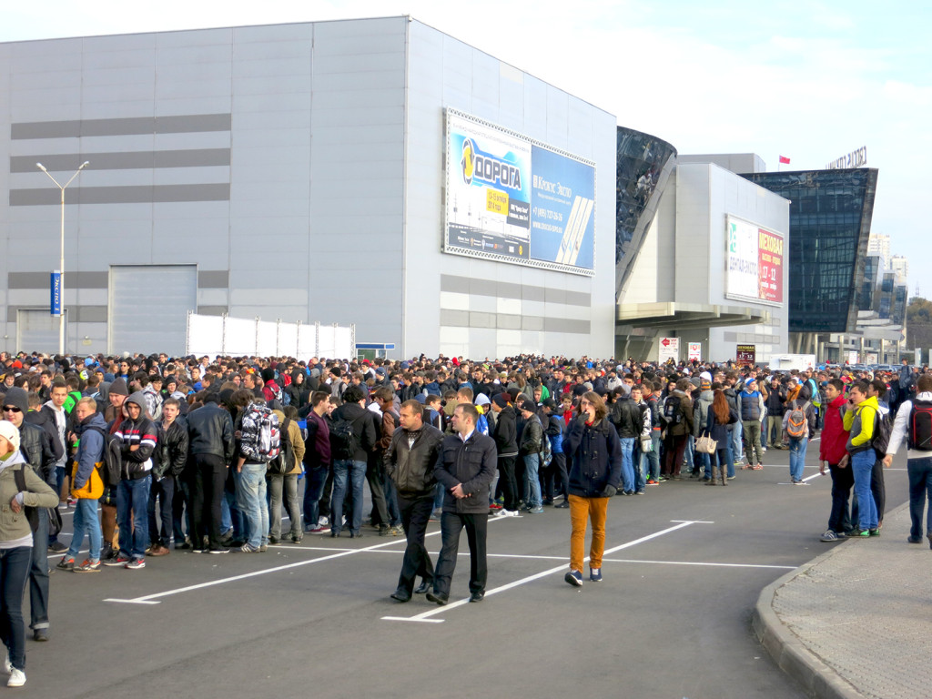 Crowds of fans queue before opening doors on Friday morning.
