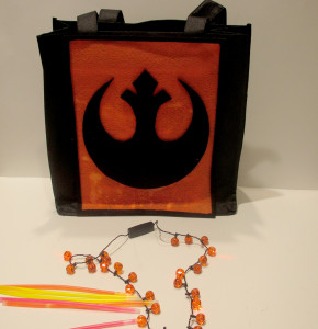 Rebel Alliance glow sticks and necklace