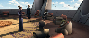 An almost empty Council at the start of the Clone Wars