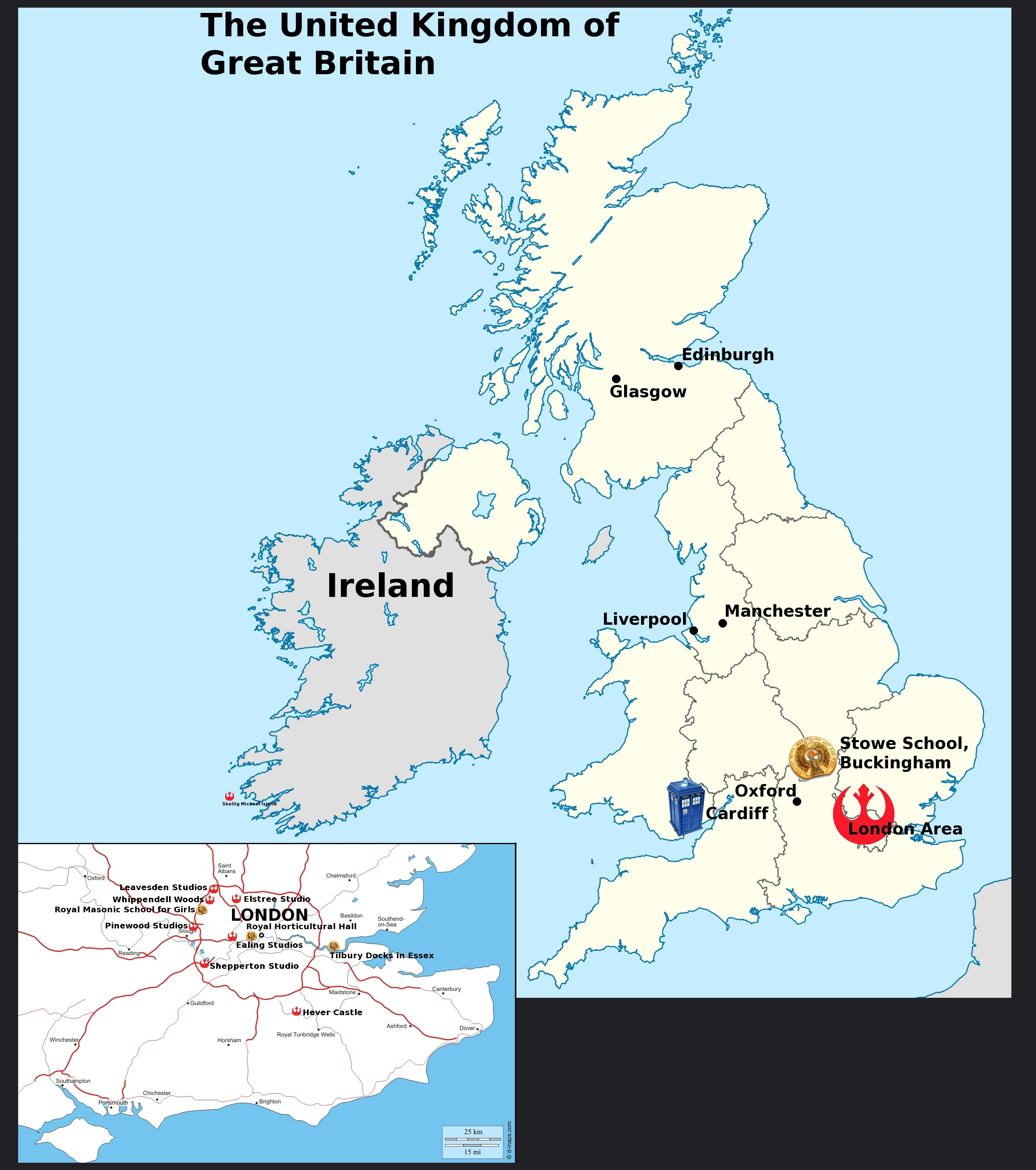 Map of the United Kingdom showing the shooting location and other important destinations.