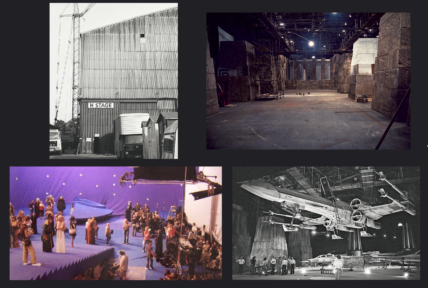 Shepperton Studios, clockwise from top: H Stage; End Ceremony set; Rebel hangar set; Galaxies Opera House set in 2004