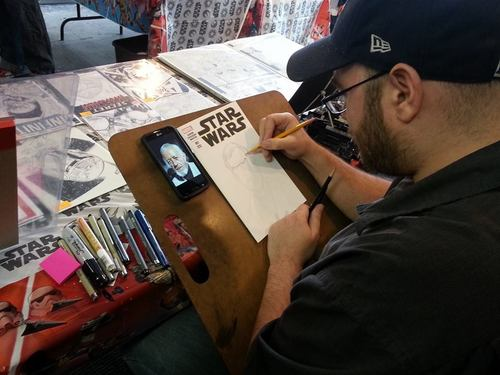 Some scenes from today's big Star Wars release party at the comic shop. Great day(very busy, non-stop traffic all day. Was barely off register, lol), got a very cool Obi Wan sketch, & the book is awesome. -