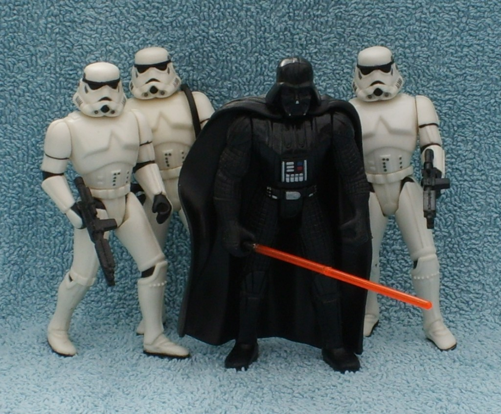 Hasbro action figures - Darth Vader and stormtroopers