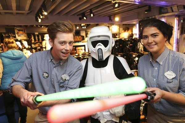 LEGOLAND - fans pose with biker troops at the Disney Store