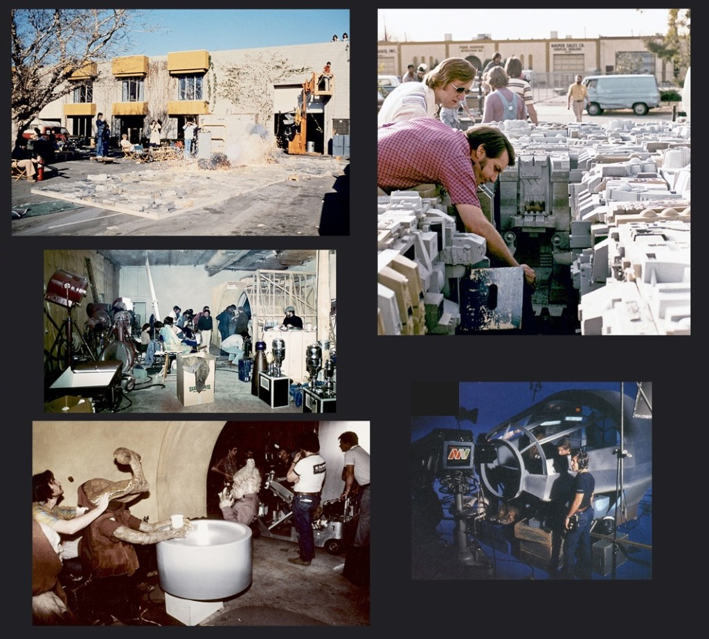 Clockwise from top: Van Nuys with the Death Star explosions, The Holiday Special being filmed & The Cantina reshoot.