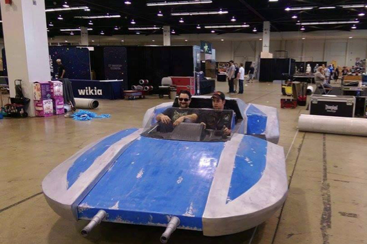 Star Wars speeder project - Dave Filoni riding in the Shriek-Hawk