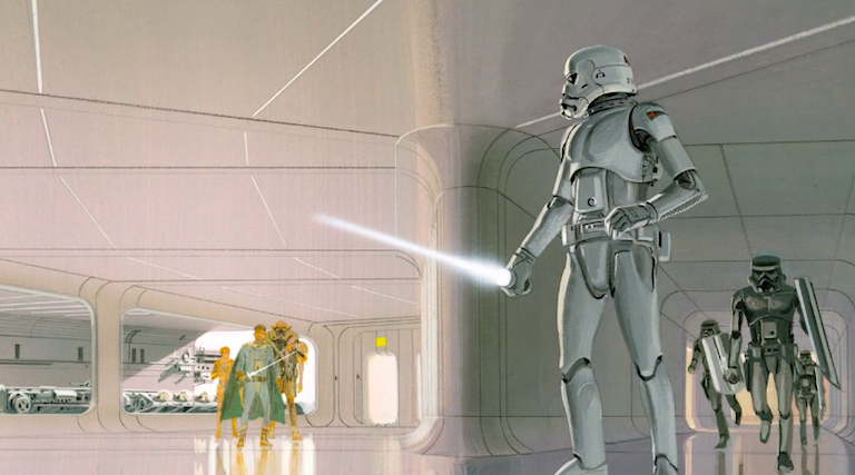 Ralph McQuarrie concept art showing stormtroopers with lightsabers