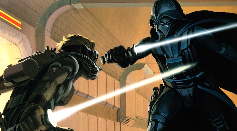 Ralph McQuarrie concept art of Luke Skywalker vs. Darth Vader