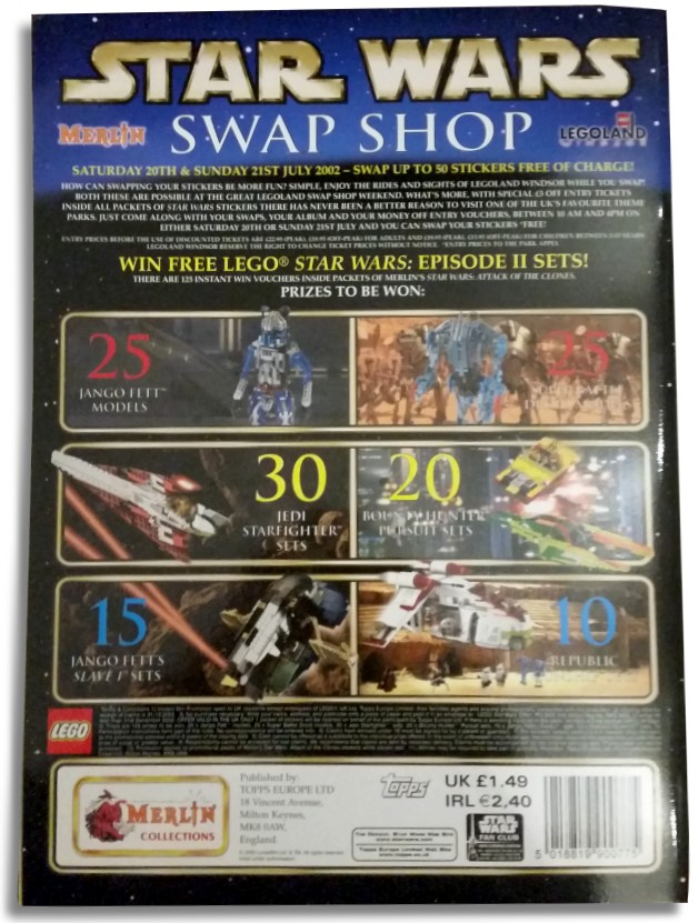 Star Wars: Attack of the Clones sticker book  - back page