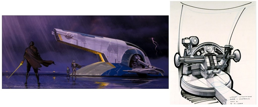 Doug Chiang's concept art for Attack of the Clones and Slave I cockpit details by Kurt Kaufman.