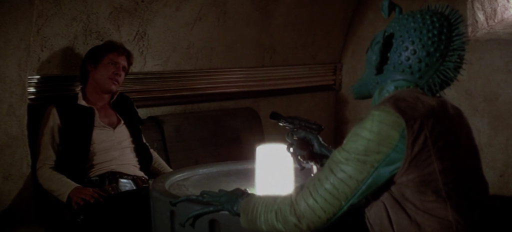 Han Solo and Greedo in Star Wars: A New Hope