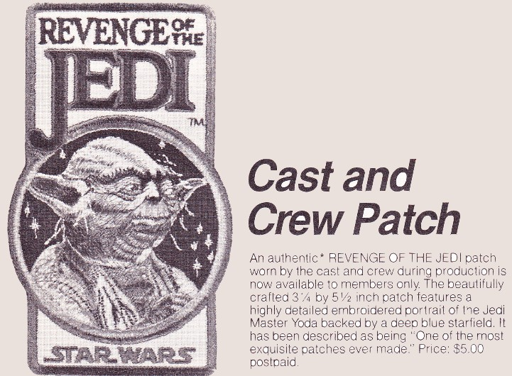 Revenge of the Jedi Cast and Crew Patch - Yoda