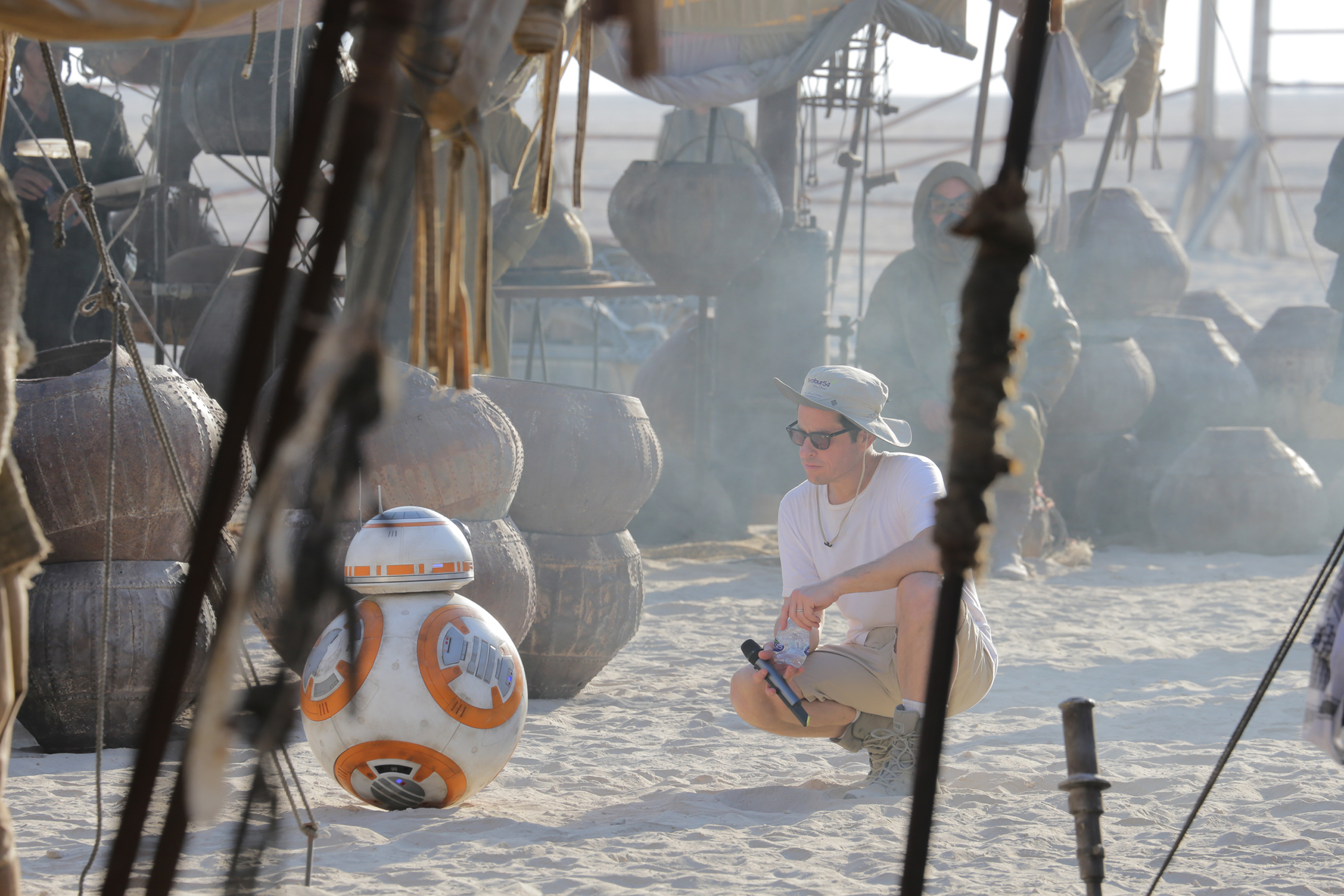 J.J. Abrams on the set of Star Wars: The Force Awakens with BB-8