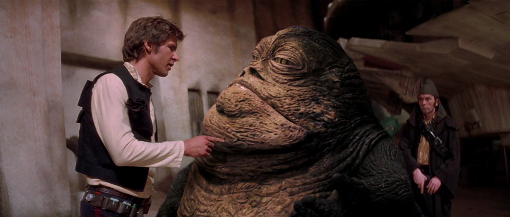 Han Solo and Jabba in Star Wars: A New Hope