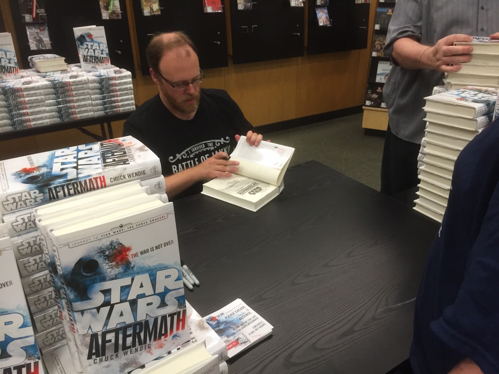 Chuck Wendig signs copies of Star Wars: Aftermath