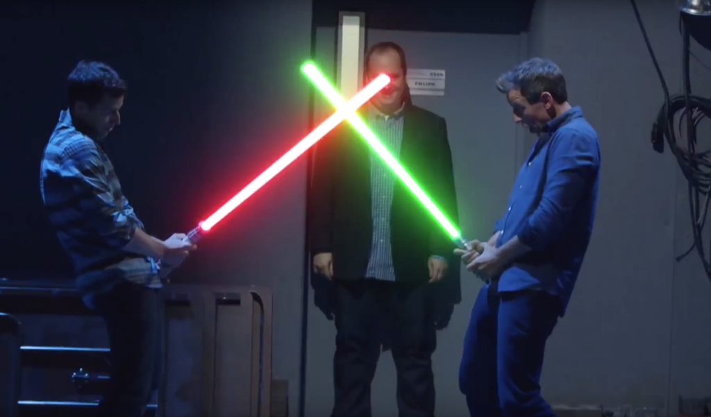 Seth Meyers and Andy Samberg lightsaber duel