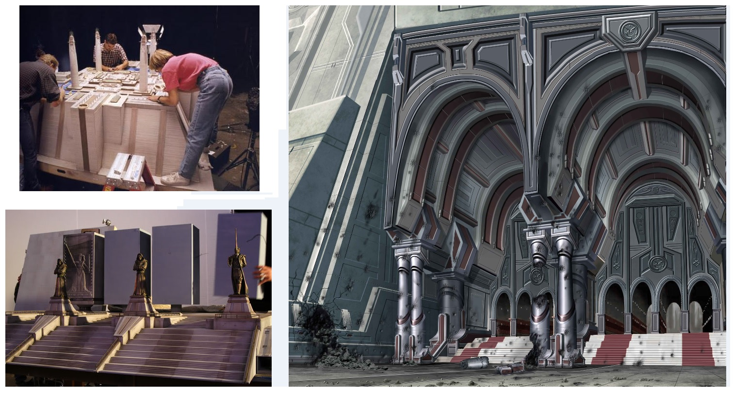 The Jedi Temple exterior models and concept art of the entrance