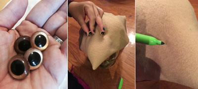 Salacious Crumb hat - eyes and snout